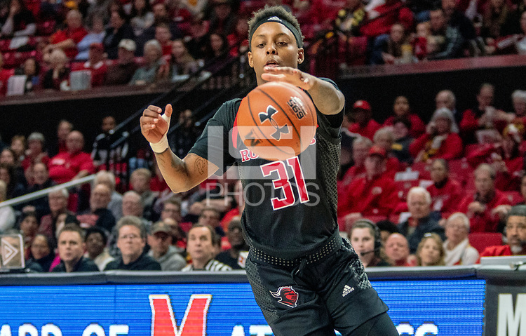 COLLEGE PARK, MD - FEBRUARY 9: Tekia Mack #31 of Rutgers catches up to a loose ball during a game between Rutgers and Maryland at Xfinity Center on February 9, 2020 in College Park, Maryland.