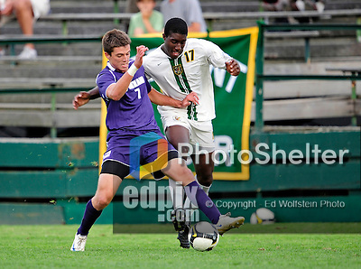11 September 2009: University of Portland Pilots' defenseman Ryan Kawulok (left), a Sophomore from Fort Collins, CO, battles University of Vermont Catamount forward D.J. Edler, a Freshman from Atlanta, GA, in the first round of the 2009 Morgan Stanley Smith Barney Soccer Classic held at Centennial Field in Burlington, Vermont. The Catamounts and Pilots battled to a 1-1 double-overtime tie. Mandatory Photo Credit: Ed Wolfstein Photo