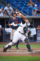 Quad Cities River Bandits catcher Christian Correa (9) throws down to second in front of batter Zacrey Law (6) during a game against the Bowling Green Hot Rods on July 24, 2016 at Modern Woodmen Park in Davenport, Iowa.  Quad Cities defeated Bowling Green 6-5.  (Mike Janes/Four Seam Images)