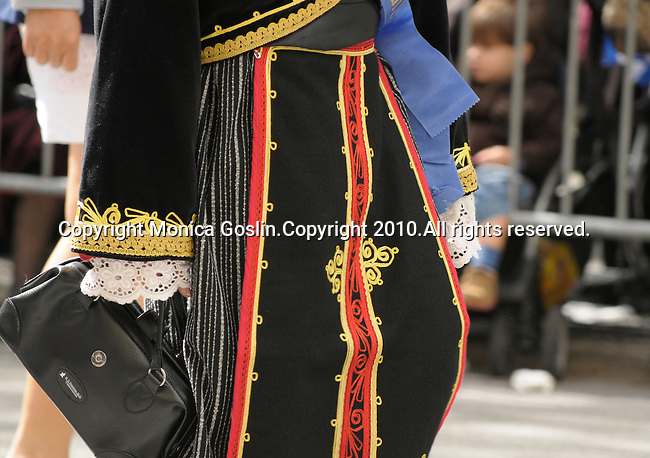 Greek Parade in New York City. Detail of a woman's costume in the Greek Parade in New York City.