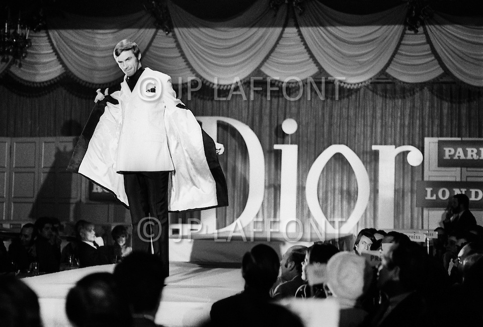 New York City, New York, USA, circa January 1969. Models present Dior designer Marc Bohan's Dior Monsieur line in New York.