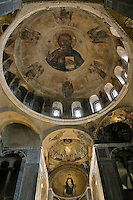 Christ Pantoctator,dome paintings,Katholikon Church of St. Luke,11th Century,Osios Loukas Monastery,Greece