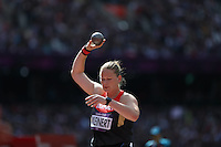 06.08.2012. London, England.  Nadine Kleinert of Germany  competes in the  womens Shot Put Qualification London 2012 Olympic Games