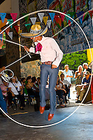 Charreria (rope tricks), part of a folkloric performance at the Casa Herradura tequila distillery, town of Tequila, Jalisco, Mexico