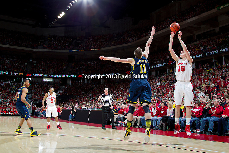 Wisconsin Badgers forward Sam Dekker (15) shoots the ball during a Big Ten Conference NCAA college basketball game against the Michigan Wolverines Saturday, February 9, 2013, in Madison, Wis. The Badgers won 65-62 (OT) (Photo by David Stluka)