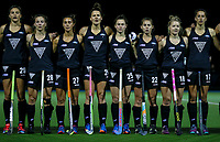 L_R: Jenny Storey, Shiloh Gloyn, Jordan Grant, Pippa Hayward, Kelsey Smith, Kim Tanner, Kirsten Pearce and Steph Dickins during the international hockey match between the Blacksticks Women and India, Rosa Birch Park, Pukekohe, New Zealand. Tuesday 16  May 2017. Photo:Simon Watts / www.bwmedia.co.nz