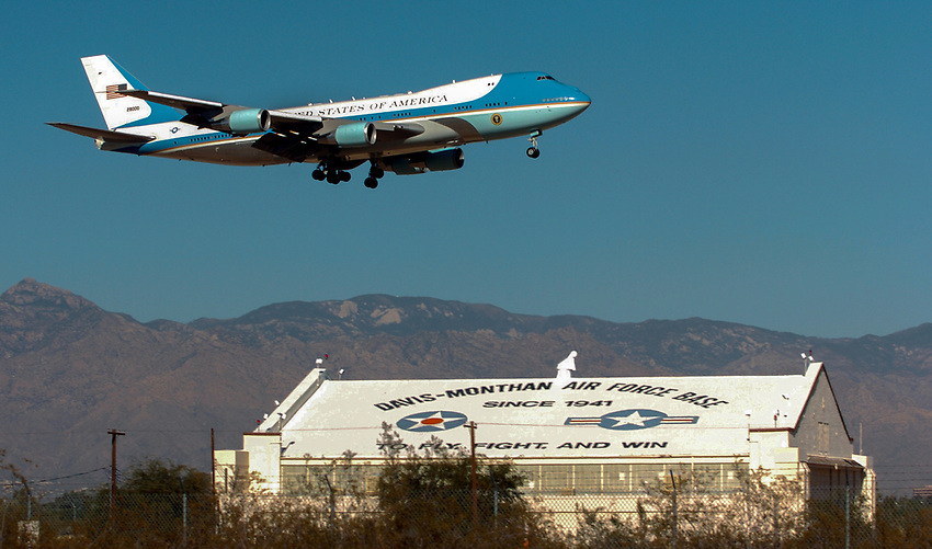 Air Force One, with President Bush aboard, arrives at Davis-Monthan Air Force Base Monday afternoon.