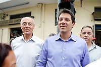 ATENCAO EDITOR IMAGEM EMBARGADA PARA VEICULO INTERNACIONAL - SAO PAULO, SP, 23 de OUTUBRO DE 2012 -  ELEICOES SAO PAULO - FERNANDO HADDAD - O candidato do PT Fernando Haddad com o Senador Eduardo Suplicy, durante Mini-comicio na Casa Verde - regiao norte da capital paulista, nesta terca-feira, 23. <br /> (FOTO: POLINE LYS / BRAZIL PHOTO PRESS).