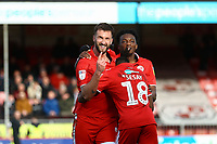 Ollie Palmer (L)  of Crawley Town celebrates his second goal in the first half during Crawley Town vs Grimsby Town, Sky Bet EFL League 2 Football at Broadfield Stadium on 9th March 2019