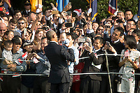 Washington DC, August 2, 2016, USA: President Barack Obama holds a baby while working the crowds attending the welcoming ceremony for Prime Minister Lee Hsien Loong of Singapore. President Barack Obama and First Lady Michelle Obama welcome Prime Minister Lee Hsien Loong of Singapore, to the White House for an official visit.  Patsy LynchMediaPunch