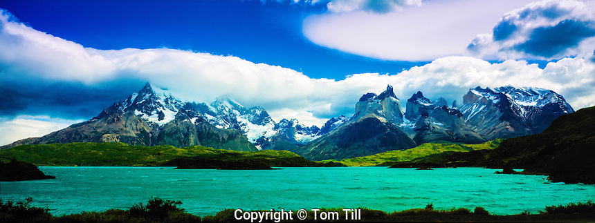 Cuernos Del Paine Torres and Pehoe Lake in Morning Light, Torres  Del Paine National Park, Andes Mountains, Chile, South America