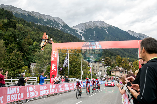 Team Katusha Alpecin in action during the Men's Elite Team Time Trial of the 2018 UCI Road World Championships running 62.8km from Ötztal to Innsbruck, Innsbruck-Tirol, Austria 2018. 23rd September 2018.<br /> Picture: Innsbruck-Tirol 2018/Jan Hetfleisch | Cyclefile<br /> <br /> <br /> All photos usage must carry mandatory copyright credit (© Cyclefile | Innsbruck-Tirol 2018/Jan Hetfleisch)
