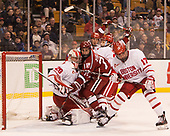 Jake Oettinger (BU - 29), Phil Zielonka (Harvard - 72), Doyle Somerby (BU - 27), Dante Fabbro (BU - 17) - The Harvard University Crimson defeated the Boston University Terriers 6-3 (EN) to win the 2017 Beanpot on Monday, February 13, 2017, at TD Garden in Boston, Massachusetts.