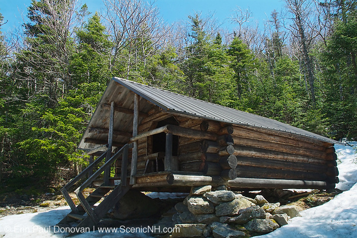 The Log Cabin located on Lowe s Path is at 3,263 feet in the Northern Presidential Range. Located in the White Mountains, New Hampshire USA. This shelter is designed after the Alaskan trapper style building and is llocated in a Forest Protection Area