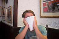 Lucas at a restaurant. Bilbao, Spain