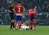 16th May 2018, Stade de Lyon, Lyon, France; Europa League football final, Marseille versus Atletico Madrid; Dimitri Payet of Marseille lying injured on the pitch before being subbed off