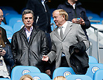 TV host John Stapleton and former player Francis Lee during the English Premier League match at the Etihad Stadium, Manchester. Picture date: May 6th 2017. Pic credit should read: Simon Bellis/Sportimage
