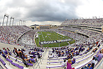 TCU and SMU fans fill the stadium during the game between the SMU Mustangs and the TCU Horned Frogs at the Amon G. Carter Stadium in Fort Worth, Texas. TCU defeats SMU 48 to 17.
