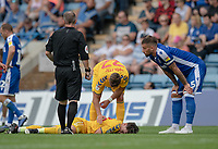 Bolton Wanderers' Eddie Brown injured after clashing with Gillingham's Max Ehmer (right) <br /> <br /> Photographer David Horton/CameraSport<br /> <br /> The EFL Sky Bet League One - Gillingham v Bolton Wanderers - Saturday 31st August 2019 - Priestfield Stadium - Gillingham<br /> <br /> World Copyright © 2019 CameraSport. All rights reserved. 43 Linden Ave. Countesthorpe. Leicester. England. LE8 5PG - Tel: +44 (0) 116 277 4147 - admin@camerasport.com - www.camerasport.com