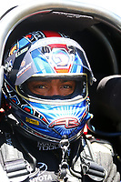 May 21, 2017; Topeka, KS, USA; NHRA top fuel driver Antron Brown during the Heartland Nationals at Heartland Park Topeka. Mandatory Credit: Mark J. Rebilas-USA TODAY Sports