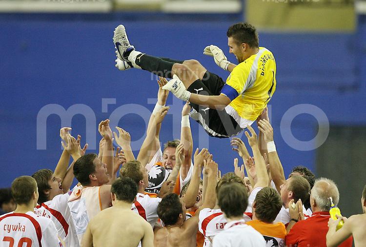Fussball International U 20 WM  Polen 1-1 Korea POL Team laesst ihren Torwart und Matchwinner Bartosz Bialkowski hochleben