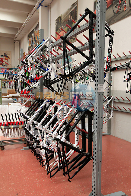 Frames lined up in the Colnago factory in Cambiago on the outskirts of Milan, Italy,15th March 2013. (Photo Eoin Clarke/www.newsfile.ie)