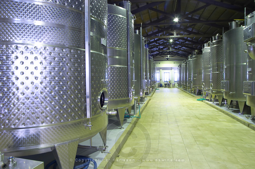 Fermentation tanks. Biblia Chora Winery, Kokkinohori, Kavala, Macedonia, Greece