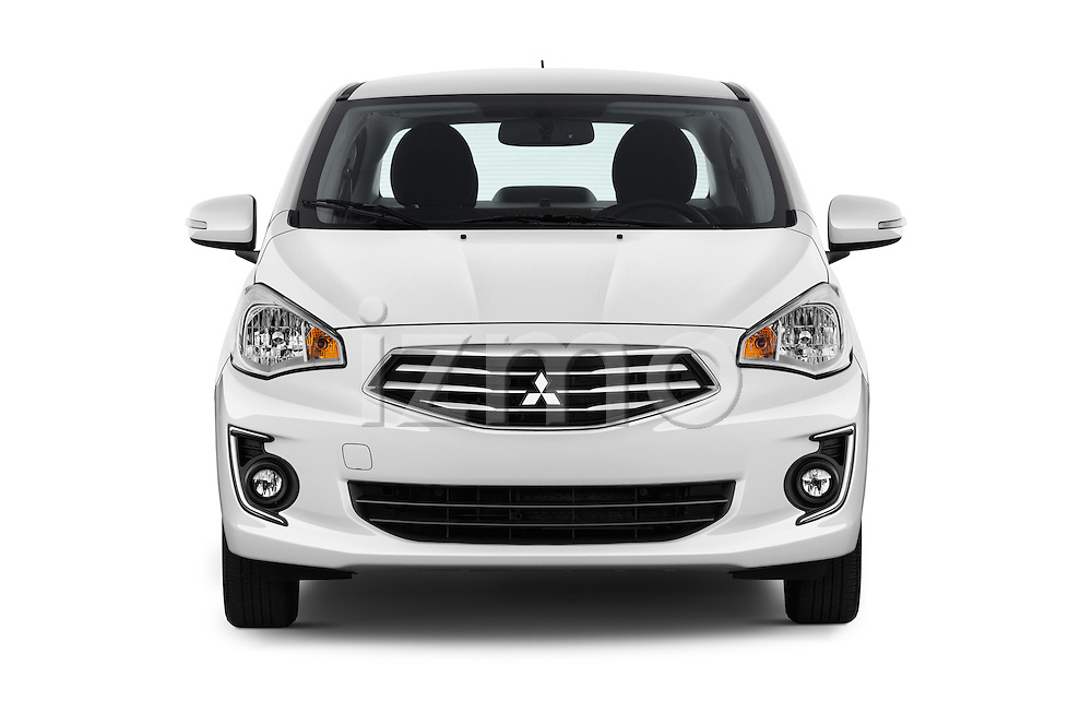 Car photography straight front view of a 2017 Mitsubishi Mirage-G4 SE-CVT 4 Door Sedan Front View