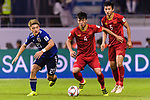Doan Ritsu of Japan (L) fights for the ball with B T Dung of Vietnam (C) during the AFC Asian Cup UAE 2019 Quarter Finals match between Vietnam (VIE) and Japan (JPN) at Al Maktoum Stadium on 24 January 2018 in Dubai, United Arab Emirates. Photo by Marcio Rodrigo Machado / Power Sport Images