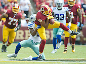 Washington Redskins tight end Jordan Reed (86) makes a reception in the second quarter against Dallas Cowboys free safety Byron Jones (31) at FedEx Field in Landover, Maryland on Sunday, September 18, 2016.<br /> Credit: Ron Sachs / CNP