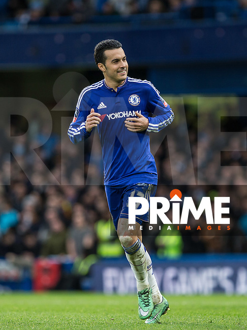 Pedro of Chelsea smiles during the FA Cup 5th round match between Chelsea and Manchester City at Stamford Bridge, London, England on 21 February 2016. Photo by Andy Rowland.