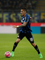 Calcio, Serie A: Inter vs Juventus. Milano, stadio San Siro, 18 ottobre 2015. <br /> FC Inter's Stevan Jovetic in action during the Italian Serie A football match between FC Inter and Juventus, at Milan's San Siro stadium, 18 October 2015.<br /> UPDATE IMAGES PRESS/Isabella Bonotto