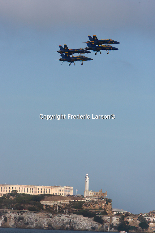 The U.S. Navy's precision flight demonstration team, the Blue Angels, practice over the San Francisco Bay (Alcatraz) as seen from Marina Greens.