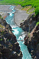 Upper Elwha River flowing into Glines Canyon, former site of Dam. Vertical format. Olympic National Park, Washington State