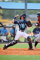 GCL Rays catcher Roberto Alvarez (6) throws to second base during the first game of a doubleheader against the GCL Twins on July 18, 2017 at Charlotte Sports Park in Port Charlotte, Florida.  GCL Twins defeated the GCL Rays 11-5 in a continuation of a game that was suspended on July 17th at CenturyLink Sports Complex in Fort Myers, Florida due to inclement weather.  (Mike Janes/Four Seam Images)