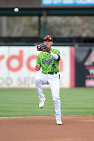 Kane County Cougars shortstop Blaze Alexander (5) during a Midwest League game against the Cedar Rapids Kernels at Northwestern Medicine Field on April 28, 2019 in Geneva, Illinois. Cedar Rapids defeated Kane County 3-2 in game two of a doubleheader. (Zachary Lucy/Four Seam Images)