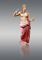 Painted colour verion of Aphrodite- type known as the Venus of Arles. A Roman statue in marble of the 1st - 2nd century AD in marble from Rome. The statue is a 1.94-metre-high (6.4 ft) and is  probably a copy of the Aphrodite of Thespiae a lost bronze sculpture by 4th century BC Greek Athenian sculpture Praxiteles . From the Royal collection Inv MR 366 ( or Ma 437), Louvre Museum, Paris.