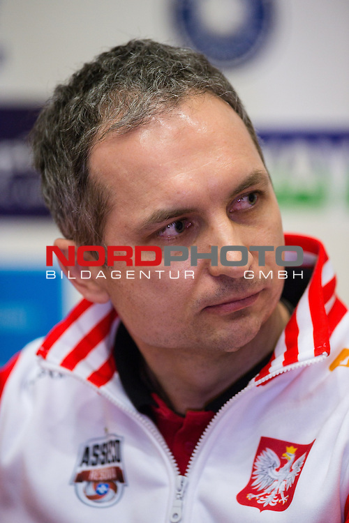 27.03.2015, Max Schmeling Halle, Berlin<br /> Volleyball, 2015 CEV Volleyball Champions League, Final Four, Pressekonferenz<br /> <br /> Andrzej Kowal (Trainer / Coach Rzeszow)<br /> <br />   Foto &copy; nordphoto / Kurth