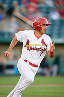 Springfield Cardinals shortstop Alex Mejia (7) runs to first base during a game against the Corpus Christi Hooks on May 30, 2017 at Hammons Field in Springfield, Missouri.  Springfield defeated Corpus Christi 4-3.  (Mike Janes/Four Seam Images)