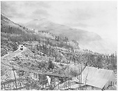 View looking west from Ophir settlement toward the original RGS depot with Bridge 45-B in foreground and Bridge 45-A in background.<br /> RGS  Ophir Loop, CO