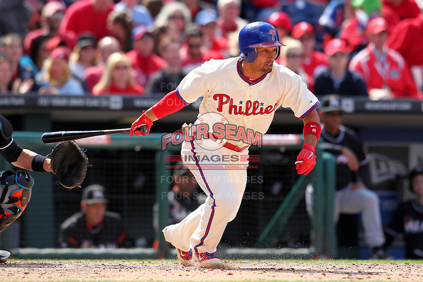 Philadelphia Phillies outfielder Shane Victorino #8 during their home opener against the Miami Marlins at Citizens Bank Park on April 9, 2012 in Philadelphia, Pennsylvania.  Miami defeated Philadelphia 6-2.  (Mike Janes/Four Seam Images)