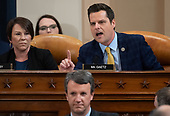 United States Representative Matt Gaetz (Republican of Florida), upper right, questions a panel of constitutional experts during a US House Judiciary Committee hearing on the impeachment of US President Donald Trump on Capitol Hill in Washington, DC, December 4, 2019.  Looking on at upper left is US Representative Martha Roby (Republican of Alabama).<br /> Credit: Saul Loeb / Pool via CNP