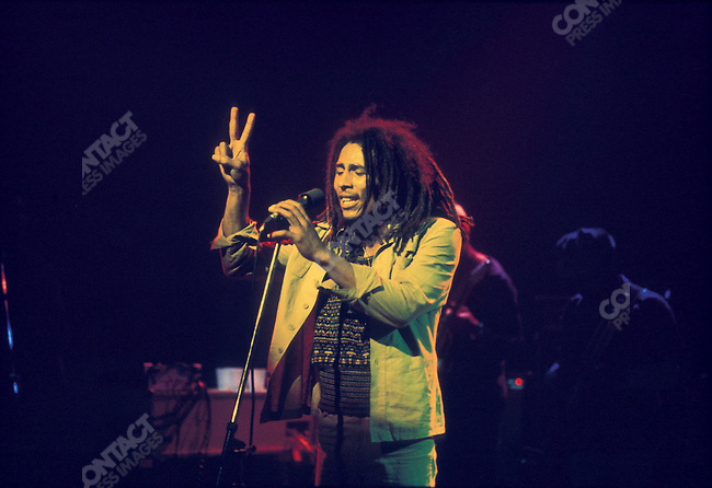 Bob Marley and The Wailers in Brussels, Belgium, on their Exodus Tour in Europe.  April, 1977.