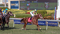 HALLANDALE BEACH, FL - JAN 06: Flameaway #1 with Julien Leparoux in the irons nearing the finishing line to win The $100,000 Kitten's Joy Stakes for trainer Mark E. Casse at Gulfstream Park on January 6, 2018 in Hallandale Beach, Florida. (Photo by Bob Aaron/Eclipse Sportswire/Getty Images)