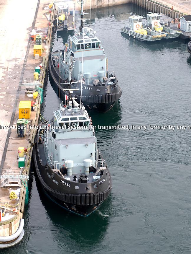 Navy Tug Boats heading away from dock, Halifax, Nova Scotia, Canada, North America