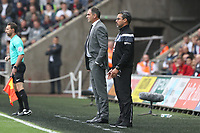 Swansea City manager Paul Clement and Huddersfield Town manager David Wagner during the Premier League match between Swansea City and Huddersfield Town at The Liberty Stadium, Swansea, Wales, UK. Saturday 16 October 2017