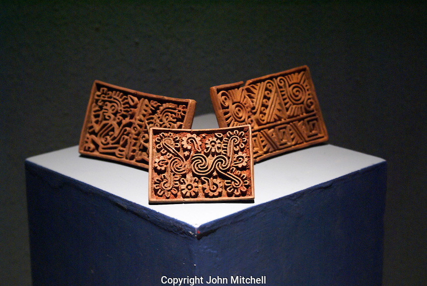 Ancient stone stamps used by the Aztecs, Museo del Templo Mayor, Mexico City