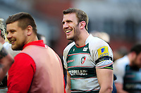 Tom Croft of Leicester Tigers is all smiles after the match. Aviva Premiership match, between Leicester Tigers and Saracens on March 20, 2016 at Welford Road in Leicester, England. Photo by: Patrick Khachfe / JMP