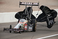 Mar 29, 2014; Las Vegas, NV, USA; NHRA top fuel driver Terry McMillen during qualifying for the Summitracing.com Nationals at The Strip at Las Vegas Motor Speedway. Mandatory Credit: Mark J. Rebilas-