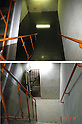 September 6, 2011, Narahamachi, Japan - The stairs leading to the basement are submerged, top, at the head exchange building for the reactor Unit 4 of the Fukushima No. 2 nuclear power plant in Narahamachi, Fukushima Prefecture, some 12km south of the troubled No. 1 plant, on March 16, 2011, five days after an earthquake and ensuing tsunami. The bottom shows the same stairs leading to the basement taken on August 29. Tokyo Electric Power Co., the operator of the two stations, released on September 6 before-and-after photos of the No. 2 plant. (Photo by TEPCO/AFLO) [0006] -mis-